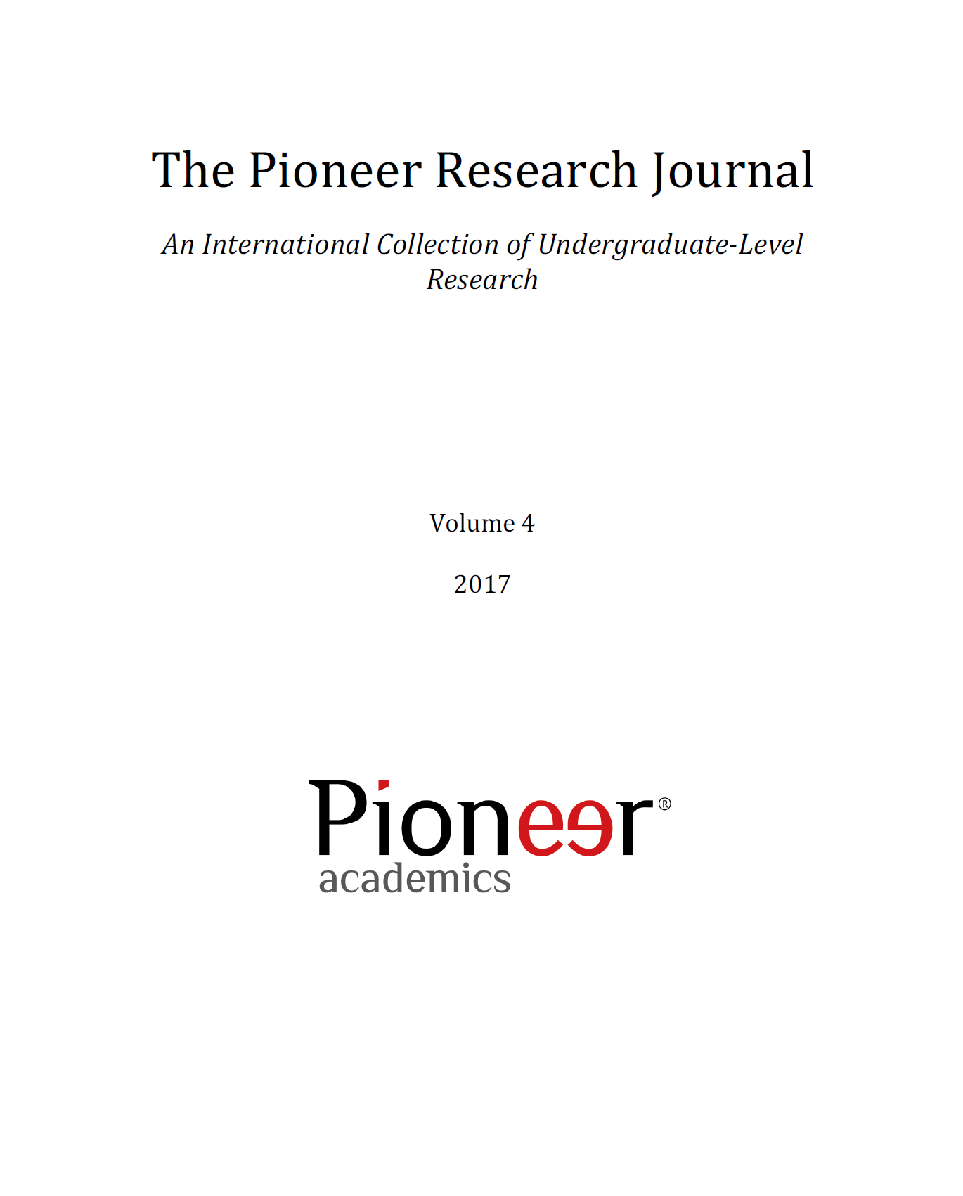The Pioneer Research Journal